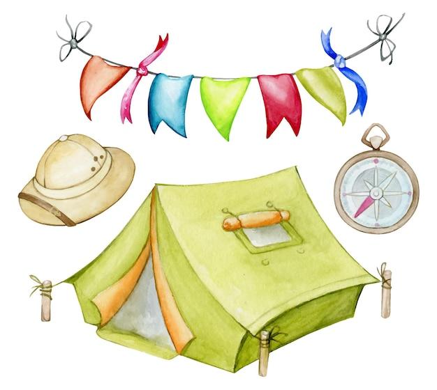 Ein zelt, ein hut, ein kompass, eine fahnengirlande. aquarell, eine reihe von elementen zum thema camping