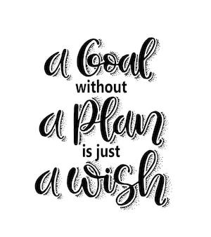 Ein ziel ohne plan ist nur ein wunschhandschriftzug mit motivationszitaten