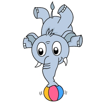 Ein zirkuselefant steht mit seinem rüssel auf einem ball, charakter süß doodle zeichnen. vektor-illustration