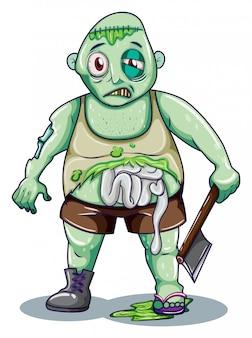 Ein zombie, der eine axt hält