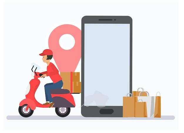 Ein zusteller, der ein motorrad fährt, um geliefert zu werden. flache vektor-cartoon-charakter-illustration. online-shopping- und lieferkonzept.
