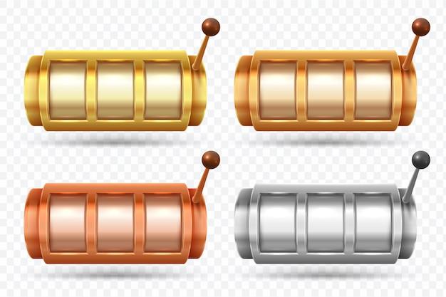 Einarmige banditen. jackpot-spinnmaschine aus gold, silber und bronze. casino-spiel glücksspiel vektor-element-set