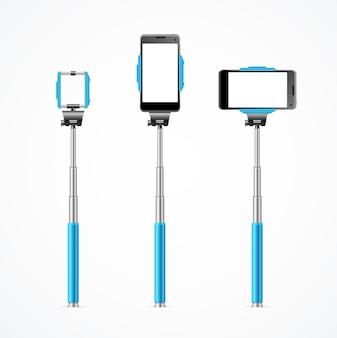 Einbeinstativ selfie blau set isoliert.