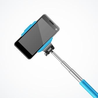 Einbeinstativ selfie front blau.