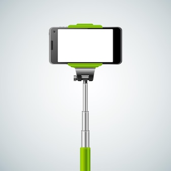 Einbeinstativ selfie front grün.