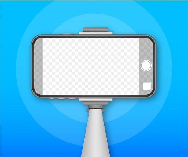 Einbeinstativ selfie stick mit leerem smartphone-bildschirm. stick für selfie. lager illustration.