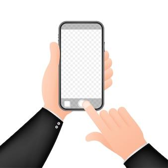 Einbeinstativ selfie stick mit leerer smartphone-bildschirmillustration