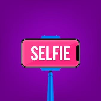 Einbeinstativ selfie stock, leerer telefonmobilschirm.