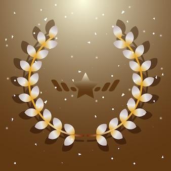 Einbildungsflora-Lorbeerkranz auf braunem Hintergrund