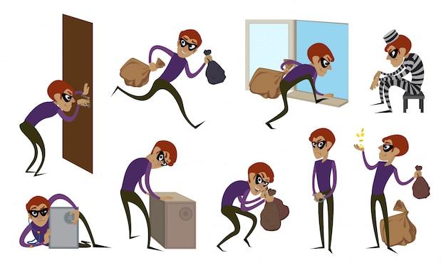 Einbrecher icons set. karikatursatz einbrecherikonen
