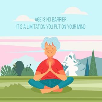 Eine ältere frau macht yoga.
