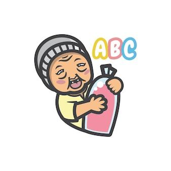 Eine alte dame oder oma, die kaltes und süßes rosa getränkegetränk verkauft