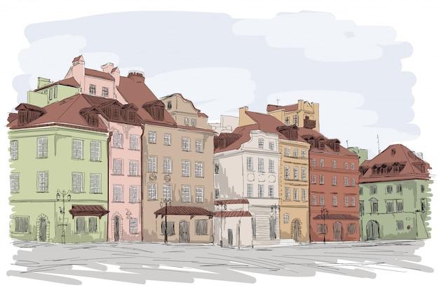 Eine alte europäische stadt mit farbenfrohen mehrstöckigen gebäuden. viele fenster mit blick auf die straße. Premium Vektoren