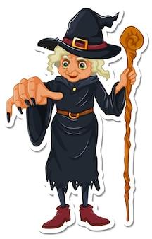 Eine alte hexe mit zauberstab-cartoon-charakter-aufkleber