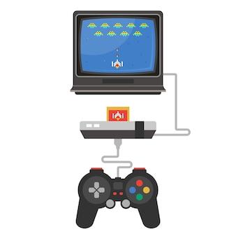 Eine alte videospielkonsole auf einem fernsehapparat. flache darstellung