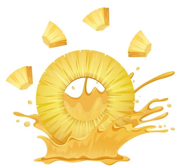 Eine ananas mit saft spritzen