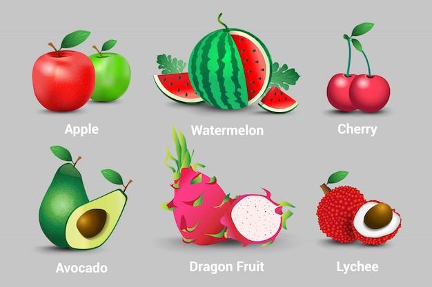 Eine ansammlung realistische frische organische vegetarische früchte. äpfel, wassermelonen, kirschen, avocados, obst, drachen und litschis
