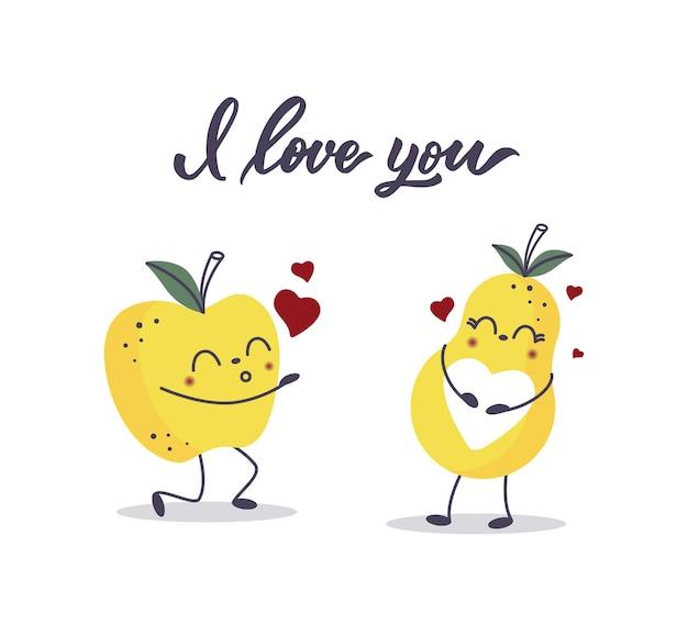 Eine apfelfrucht und eine birne in der liebe. ich liebe dich schriftzug.