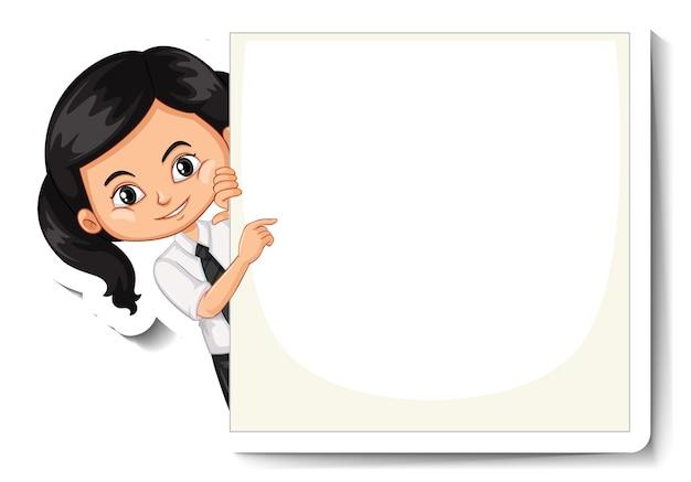 Eine aufkleberschablone mit einem studentenmädchen, das leeres brett hält