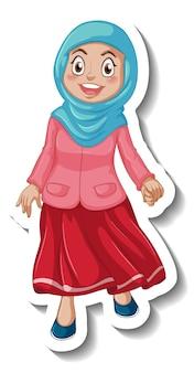 Eine aufkleberschablone mit muslimischer frau-cartoon-figur