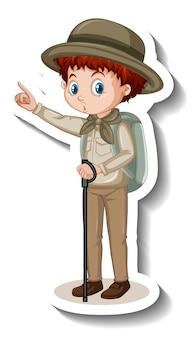 Eine aufkleberschablone von jungenzeichentrickfilm-figur