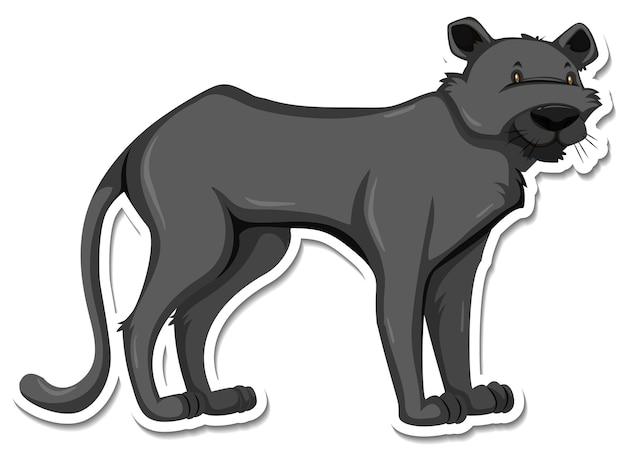 Eine aufklebervorlage der cartoon-figur des schwarzen panthers