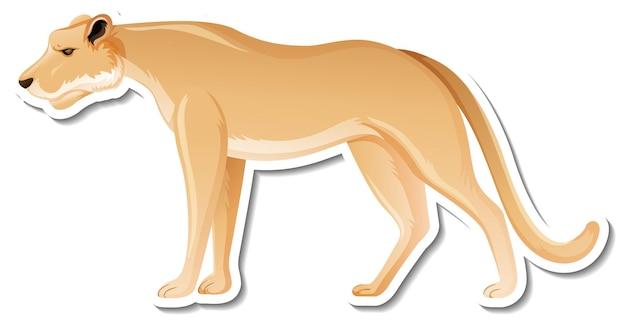 Eine aufklebervorlage der löwen-cartoon-figur