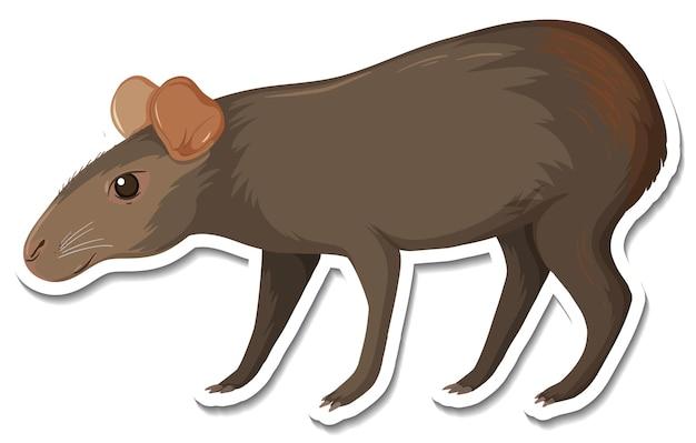 Eine aufklebervorlage der schwarzen capybara-cartoon-figur