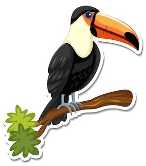 Eine aufklebervorlage der tukan-cartoon-figur