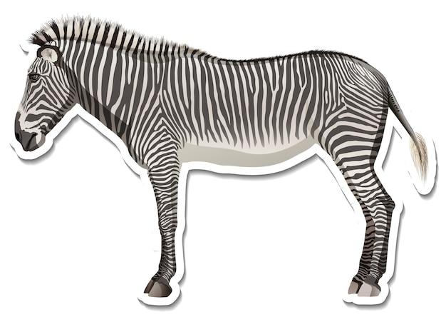 Eine aufklebervorlage der zebra-cartoon-figur