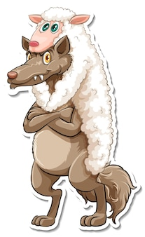 Eine aufklebervorlage für eine fuchs-cartoon-figur