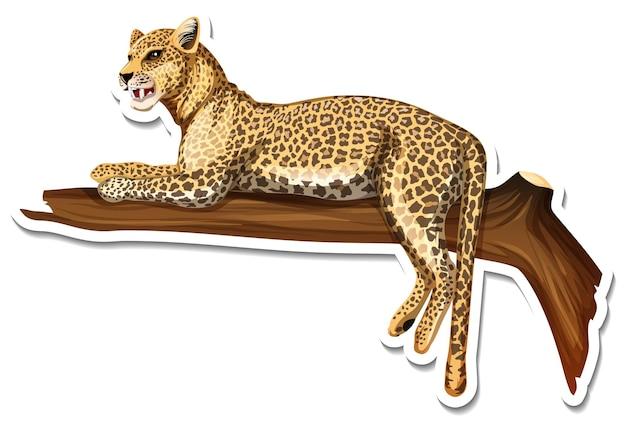 Eine aufklebervorlage für eine leoparden-cartoon-figur