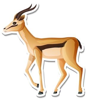 Eine aufklebervorlage mit antilopen-cartoon-figur