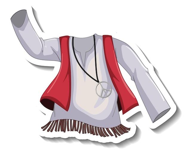 Eine aufklebervorlage mit böhmischem hemd isoliert