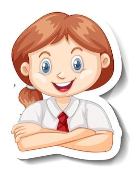 Eine aufklebervorlage mit dem porträt eines studentenmädchens in schuluniform