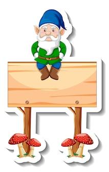 Eine aufklebervorlage mit einem gartenzwerg, der auf einem leeren holzbanner sitzt
