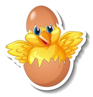 Eine aufklebervorlage mit einem hühnerbaby, das aus einem ei schlüpft