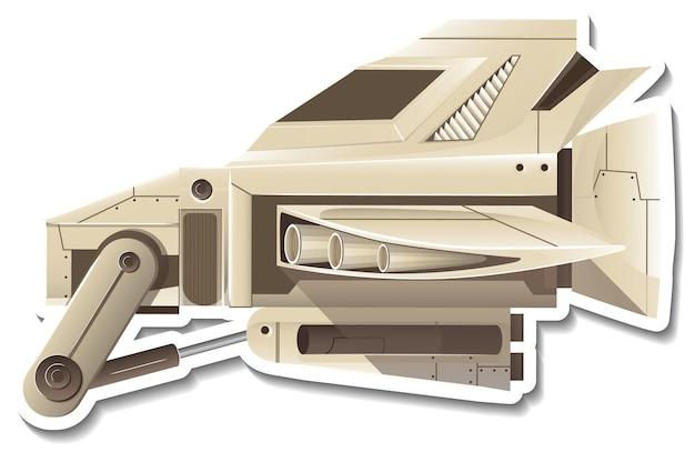 Eine aufklebervorlage mit einem isolierten kampfflugzeug
