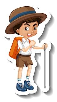 Eine aufklebervorlage mit einem jungen-cartoon-charakter