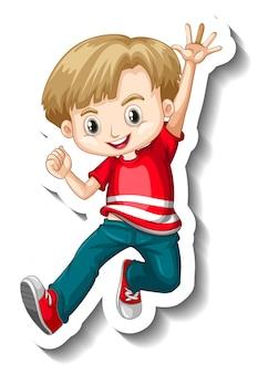 Eine aufklebervorlage mit einem jungen, der eine rote t-shirt-cartoon-figur trägt