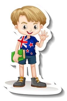Eine aufklebervorlage mit einem jungen, der eine t-shirt-cartoon-figur mit amerikanischer flagge trägt
