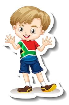Eine aufklebervorlage mit einem jungen, der eine t-shirt-cartoon-figur mit der südafrikanischen flagge trägt