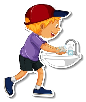 Eine aufklebervorlage mit einem jungen, der sich die hände wäscht