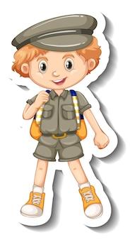 Eine aufklebervorlage mit einem jungen im safari-outfit-cartoon-charakter