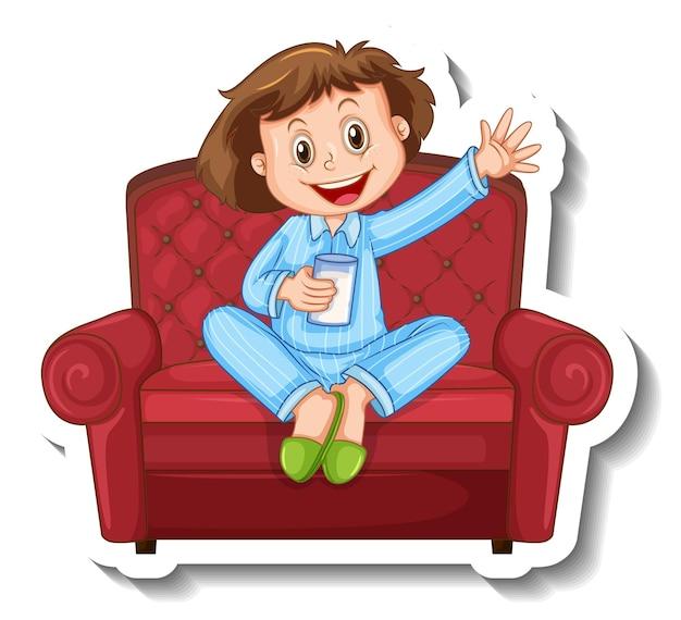 Eine aufklebervorlage mit einem kleinen mädchen im pyjamakostüm und auf dem sofa sitzend