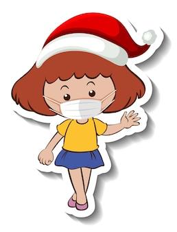 Eine aufklebervorlage mit einem mädchen, das eine maske im weihnachtsthema trägt