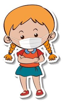 Eine aufklebervorlage mit einem mädchen, das eine zeichentrickfigur mit medizinischer maske trägt