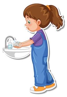 Eine aufklebervorlage mit einem mädchen, das sich die hände mit seife wäscht