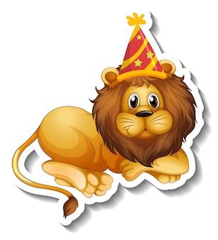 Eine aufklebervorlage mit einem männlichen löwen mit partyhut
