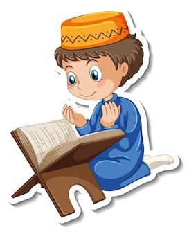 Eine aufklebervorlage mit einem muslimischen jungen, der ein koranbuch liest